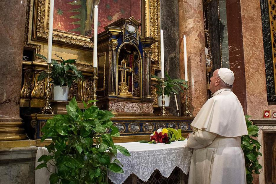 Pope Francis visits San Marcello al Corso to pray for all affected by the coronavirus pandemic, March 15, 2020.