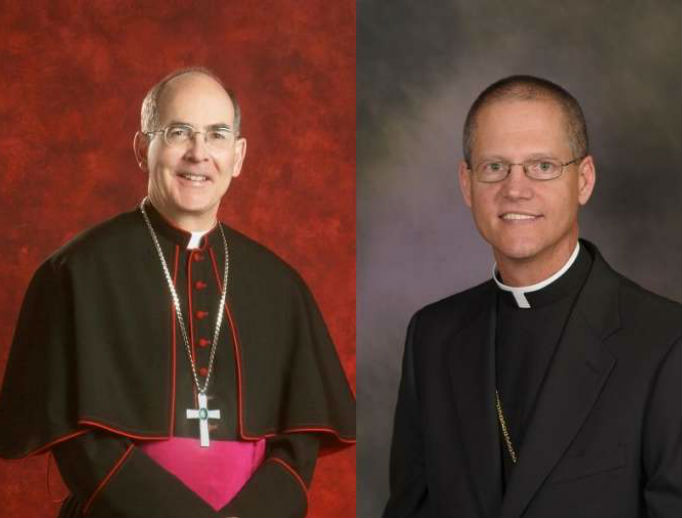 Outgoing Seattle Archbishop Sartain (l) and new Archbishop Etienne.