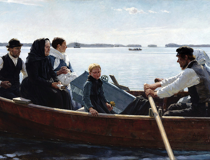 """Albert Edelfelt, """"Conveying the Child's Coffin/A Child's Funeral"""", 1879"""