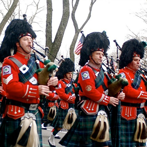 Bagpipers march in the 2013 New York City St. Patrick's Day Parade.