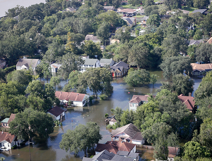 Floodwaters inundate Port Arthur, Texas, on Aug. 31, 2017