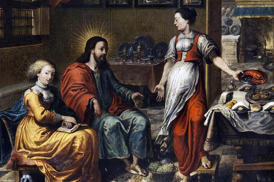 """""""Christ with Martha and Mary,"""" from an unknown 17th-century Master of the Flemish School"""