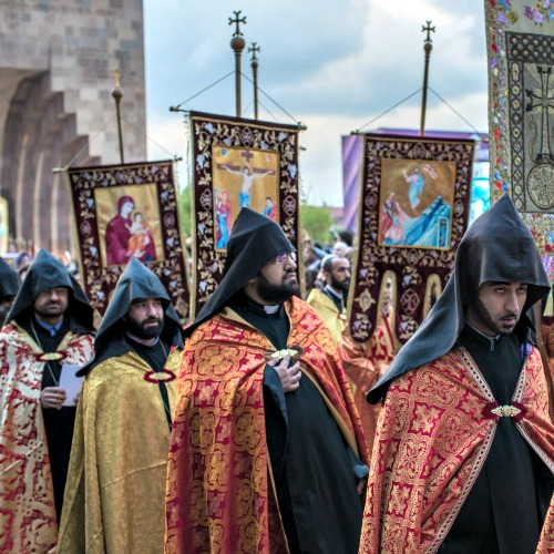 Clergy of Armenian Apostolic Church participate in a canonization ceremony for victims of the Armenian genocide at the Mother See of Holy Etchmiadzin, a complex that serves as the administrative headquarters of the Armenian Apostolic Church, on April 23 in Vagharshapat, Armenia.
