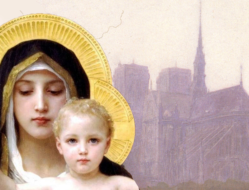 "William-Adolphe Bouguereau, ""La Bohémienne"" (1890) and ""La Vierge au Lys"" (1899), composite"