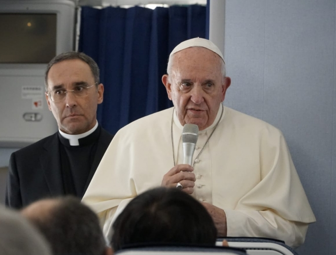 Pope Francis speaking aboard the papal plane, November 26, 2019.