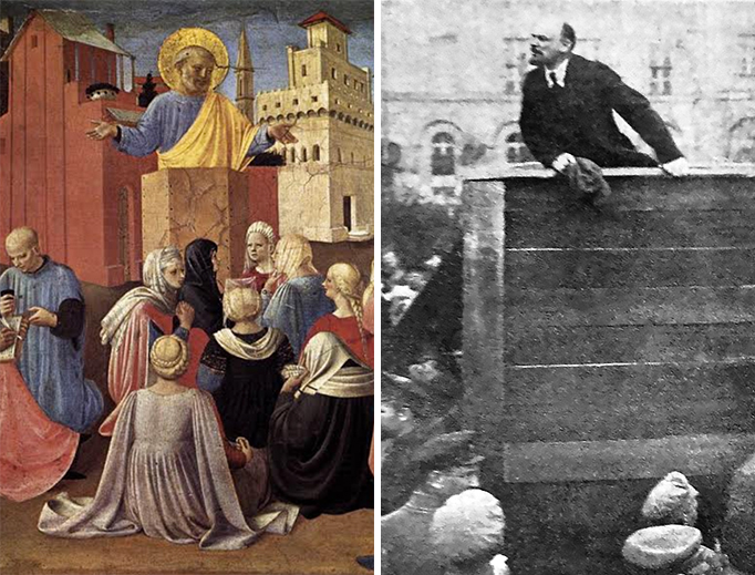 "(L) Fra Angelico, ""St. Peter Preaching,"" 1433. (R) Vladimir Lenin speaks to a crowd on May 5, 1920."