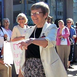 Sister Simone Campbell drums up support during a Nuns on the Bus tour stop in South Bend, Ind.