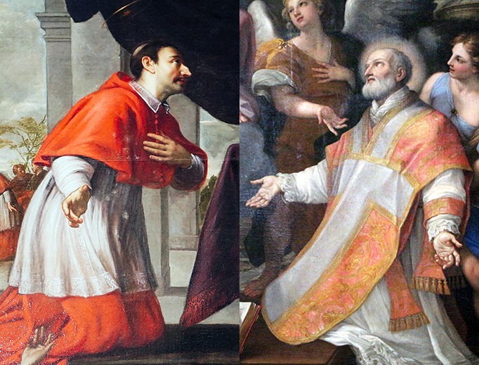 "LEFT: Jacob van Oost the Younger (1639-1713), ""Saint Charles Borromeo."" RIGHT: Carlo Maratta (1625-1713), ""St. Philip Neri."""