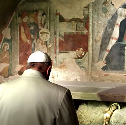 Pope Francis visits the place of the first Nativity scene in Greccio, Italy, on Jan. 4.