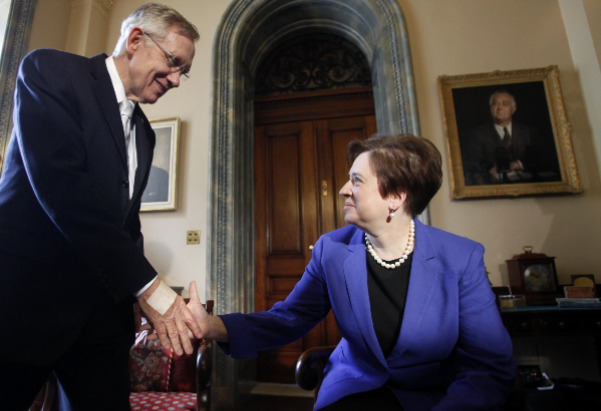 Senate Majority Leader Harry Reid, D-Nev., greets Solicitor General and Supreme Court nominee Elena Kagan at his office on Capitol Hill in Washington.
