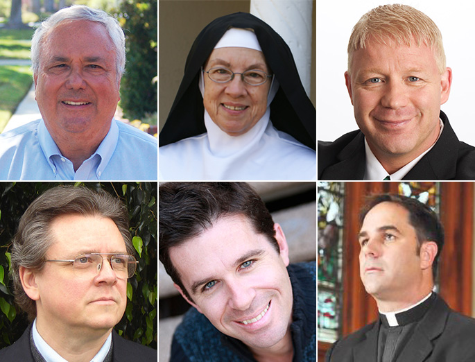 TOP (L TO R): Deacon Steve Greco, Mother Miriam of the Lamb of God, Scott Sullivan. BOTTOM (L TO R): Matthew Arnold, Patrick Coffin, Father Donald Calloway.