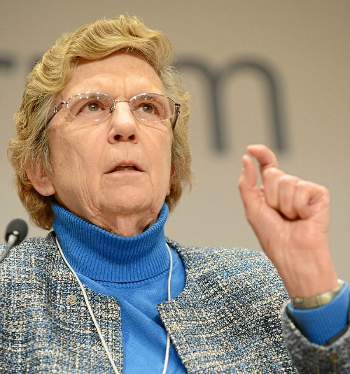 Sister Carol Keehan, president of the Catholic Health Association, speaks at the 2013 World Economic Forum in Davos, Switzerland.