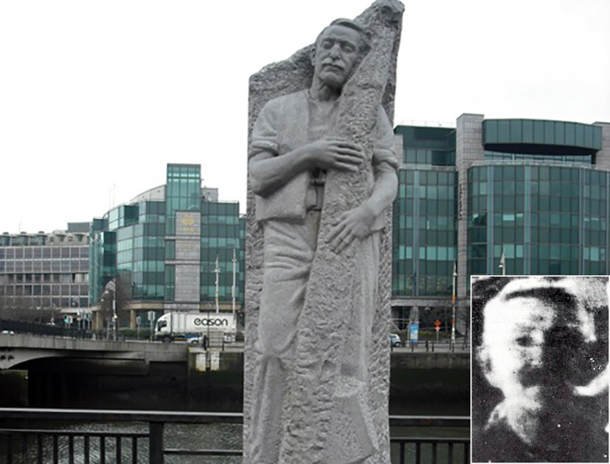 The statue of Ven. Matt Talbot near Matt Talbot Bridge in Dublin, with the only known photo of Talbot (inset), which was taken in the early 1920s.