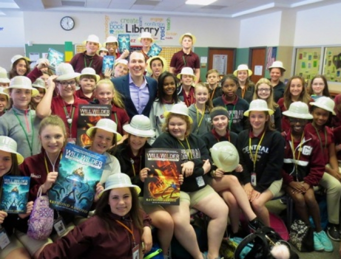 Raymond Arroyo introduces Will Wilder to students at a Los Angeles school.