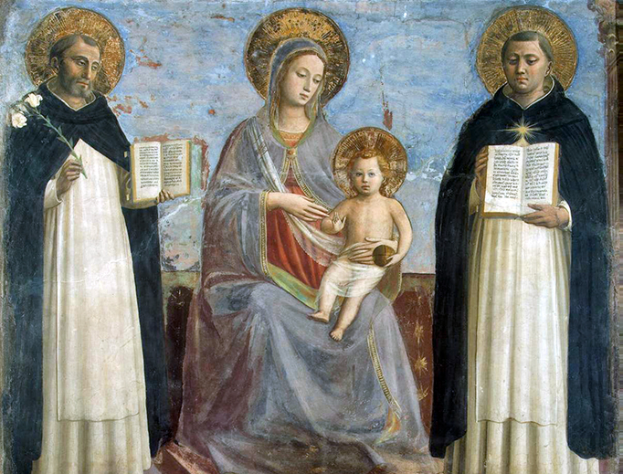 """Fra Angelico, """"Virgin and Child with Sts. Dominic and Thomas Aquinas,"""" c. 1427"""