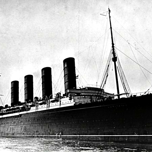 The RMS Lusitania, which was torpedoed and sunk by a German submarine, May 7, 1915