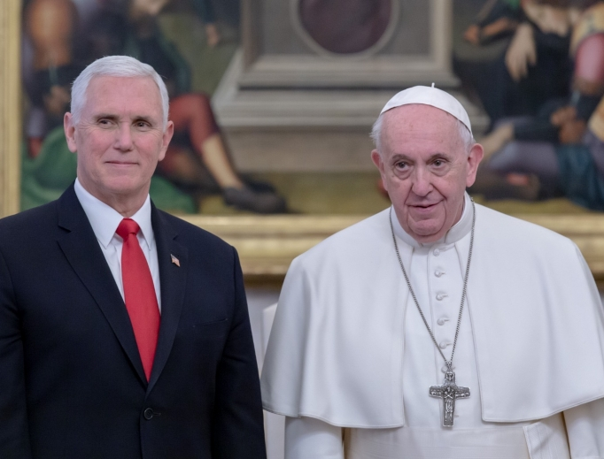 Vice President Mike Pence alongside Pope Francis before a private meeting inside the Vatican, January 24, 2020.