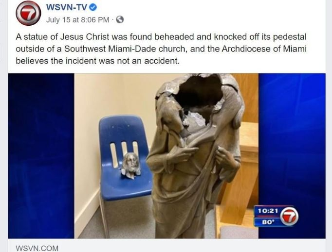 A Jesus statue was vandalized in the Archdiocese of Miami earlier this month, as explained in a Facebook news post July 15; it is only one of many instances of destruction to Catholic and others statues across the country.