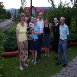 Sister Nancy Strillacci visits with her Polish family.
