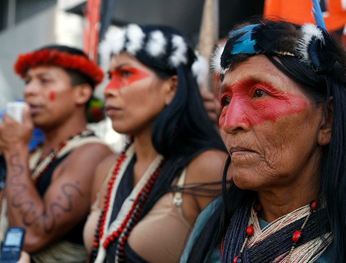 Waorani indigenous people protest outside the Ministry of Natural Resources in Quito, Ecuador, May 16 against the government's extractive policy in the Amazon.