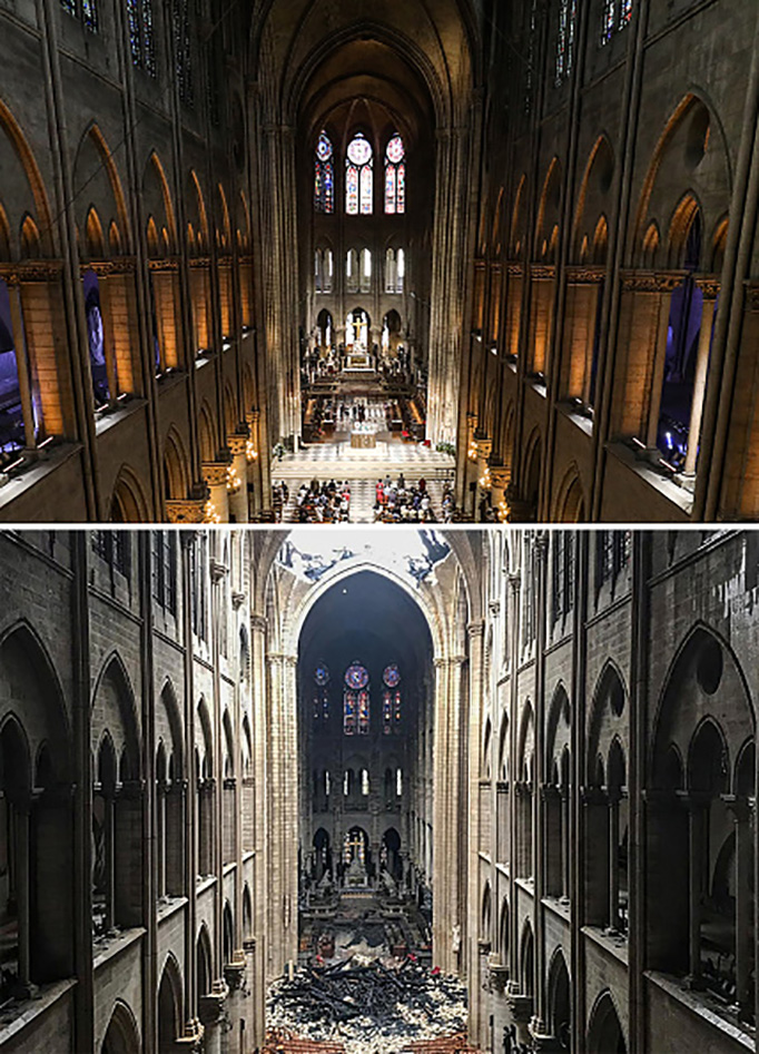 TOP: Worshippers arrive at Notre-Dame de Paris Cathedral for Mass on June 26, 2018. BOTTOM: The same view of Notre-Dame one day after a fire devastated the cathedral on April 16, 2019.