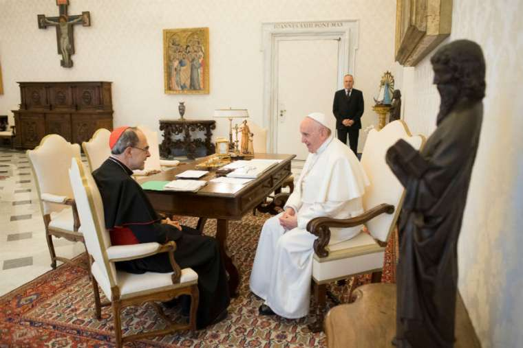 Pope Francis meets with Cardinal Philippe Barbarin March 18.