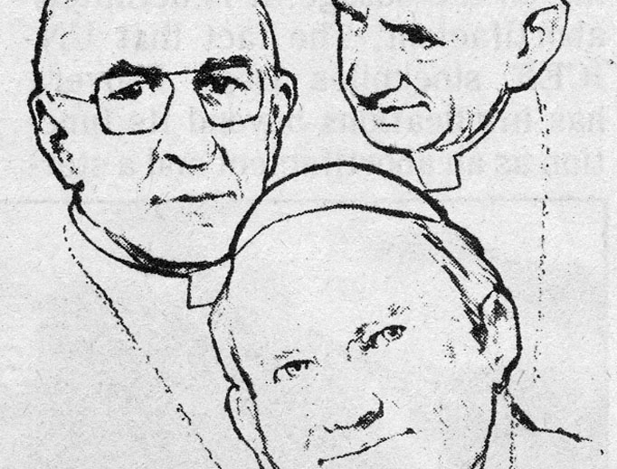 From the Register archives, this drawing of the likenesses of Paul VI, John Paul I and John Paul II accompanied a column by Father Robert J. Fox in the Oct. 29, 1978, edition of the newspaper.