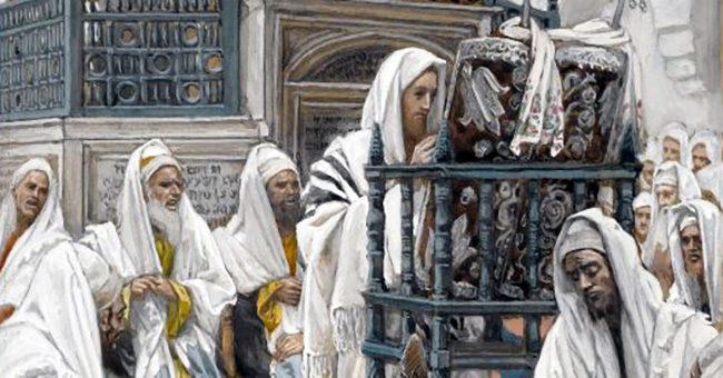 "James Tissot (1836-1902), ""Jesus Unrolls the Scroll in the Synagogue"""