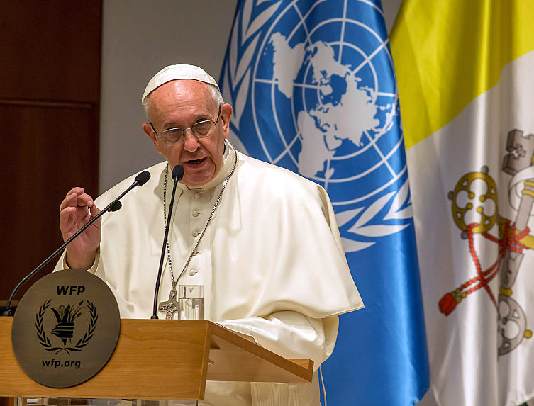 Pope Francis addresses the the United Nations World Food Programme headquarters in Rome, June 13, 2016.