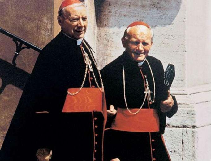 Cardinal Stefan Wyszynski (l) with Cardinal Karol Wojtyla, the future Pope St. John Paul II