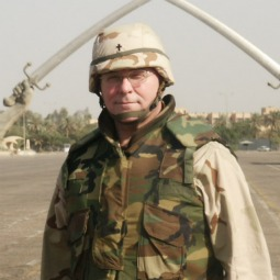 ON THE GROUND. Msgr. Philip Hill in Baghdad's Saddam Hussein Square.