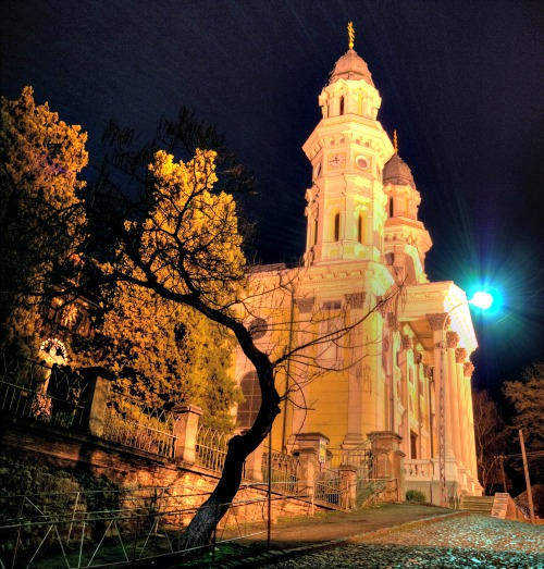 The Ruthenian Catholic Cathedral of the Exaltation of the Holy Cross in Uzhhorod City, Ukraine, was built in the 17th century.