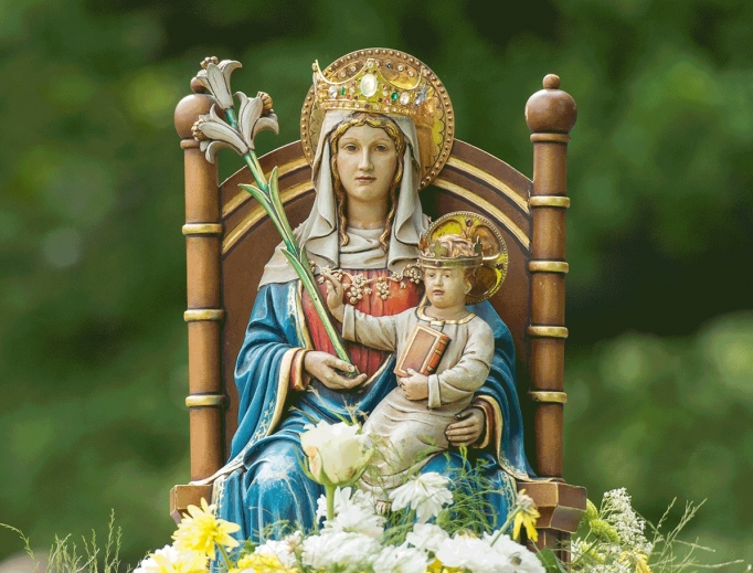 Present-day image of Our Lady of Walsingham at the famous English shrine that was destroyed in 1538 during the reign of Henry VIII.