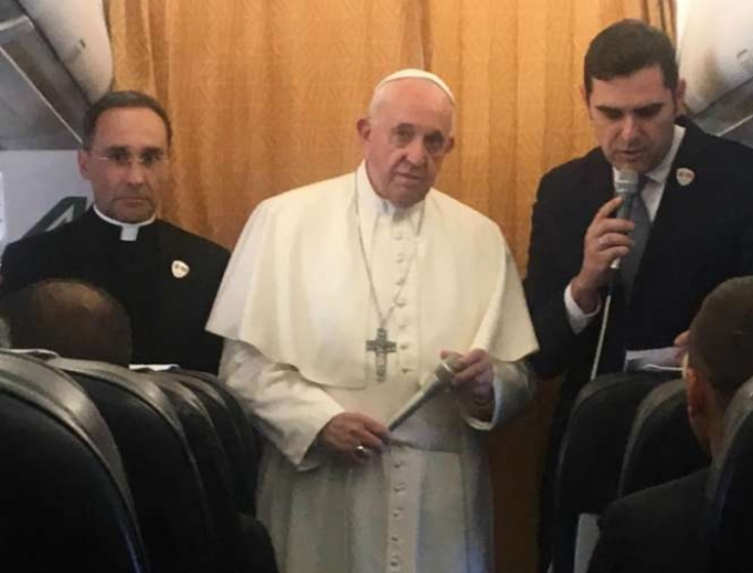 Pope Francis' in-flight press conference returning from North Macedonia May 7, 2019.