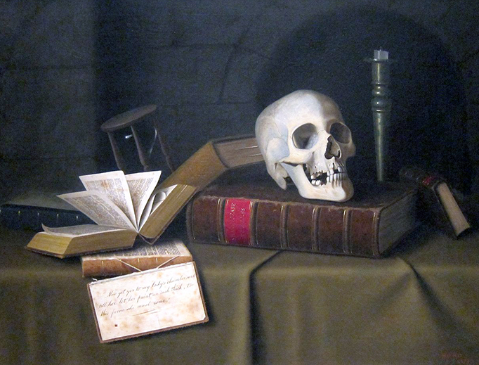 """William Michael Harnett, """"Memento Mori"""" (1879). Death is symbolized in this painting by the skull, the extinguished candle, the empty hourglass, and a quote from the graveyard scene in Shakespeare's Hamlet."""