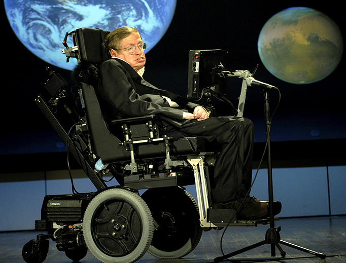 Stephen Hawking gives a lecture for NASA's 50th anniversary on April 21, 2008
