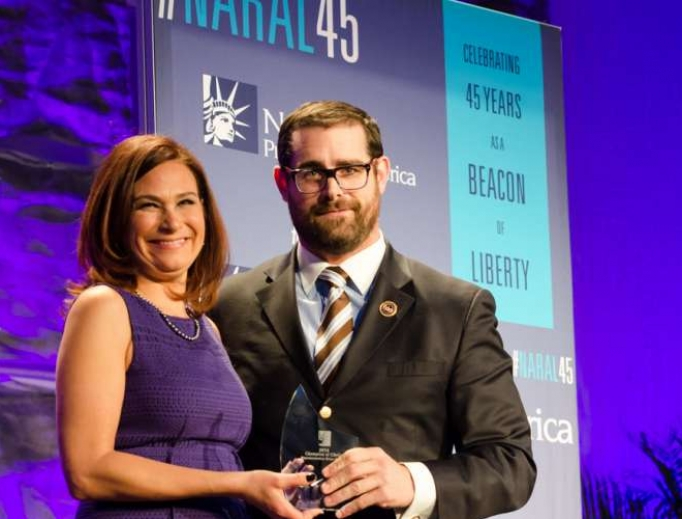 State Rep. Brian Sims with Ilyse Hogue, president of NARAL, at an event for the organization's 45th anniversary, Feb. 4, 2014, in the San Francisco area.