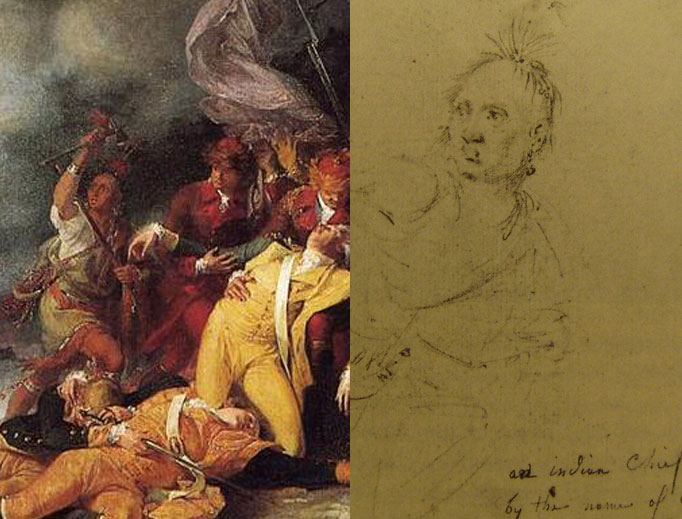 Left to right: Detail of Joseph Louis Cook from Death of General Montgomery in the Attack on Quebec (1786), by John Trumbull, and a pencil sketch of Colonel Louis, also by John Trumbull (1785).