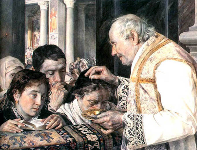 """Julian Fałat, """"Ash Wednesday"""", 1881"""