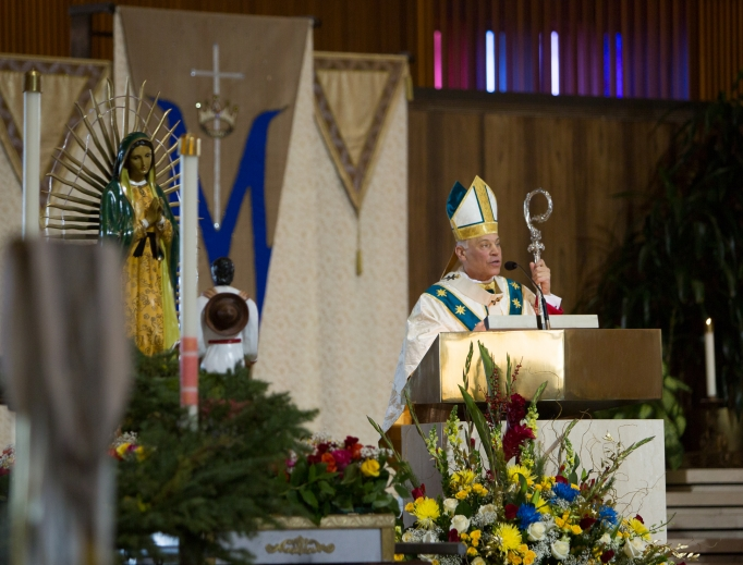 San Francisco Archbishop Salvatore Cordileone presides at The Mass of the Americas, dedicated to the Immaculate Conception and Our Lady of Guadalupe, at St. Mary's Cathedral in San Francisco last December.