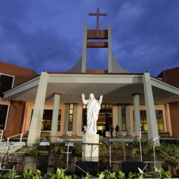 A statue of Christ is seen outside the new national Catholic seminary on the outskirts of Havana Nov. 3. Cuban President Raul Castro joined Archbishop Thomas Wenski of Miami and other Catholic leaders to open the seminary, the first Catholic construction on the island in more than a half century.