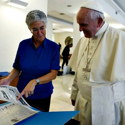 Vatican Journalist Aura Miguel with Radio Renascença interviews Pope Francis on Sept. 8.