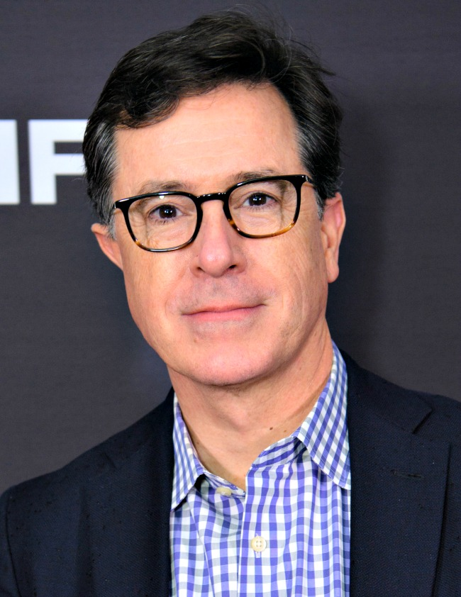 Stephen Colbert, host of The Late Show; below, Jim Gaffigan