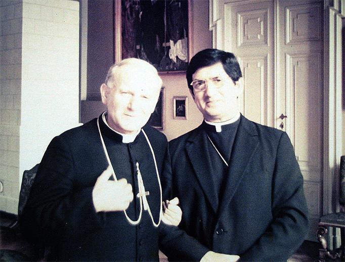 Bishop René Gracida with Cardinal Karol Wojtyla, shortly before he was named Pope John Paul II.