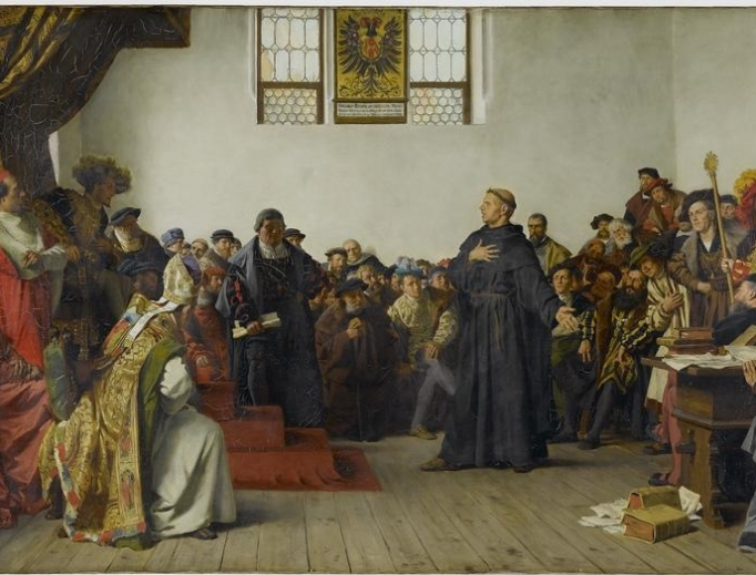 Martin Luther at the Diet of Worms, where he refused to recant his works, which were deemed heretical by the Catholic Church.