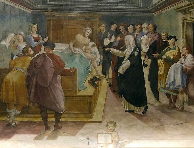 St. Catherine of Siena heals Matteo Cenni of the plague, fresco by Vincenzo Tamagni (Oratory of St. Catherine in Siena)