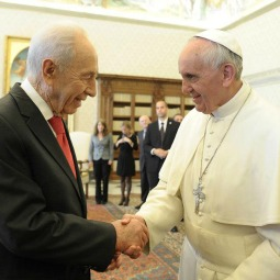President Shimon Peres of Israel meets with Pope Francis at the Vatican on April 30.