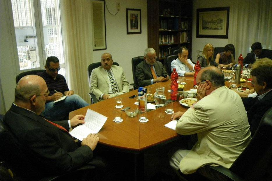 Israel's Ambassador to the Holy See, Mordechay Lewy (far left), speaking to reporters in Rome.