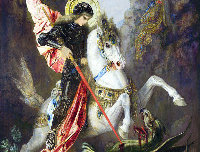 """Gustave Moreau (1826–1898), """"St. George and the Dragon"""", c. 1889"""