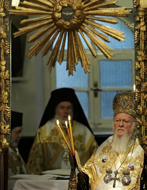 Ecumenical Patriarch Bartholomew I of Constantinople attends the Divine Liturgy at the Ecumenical Patriarchate in Istanbul with Pope Francis on Nov. 30, 2014.